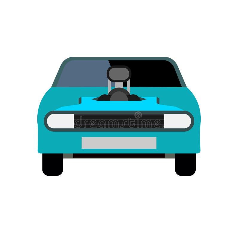 Ícone azul do vetor da opinião dianteira do carro de corridas Veículo moderno do esporte da tecnologia automotivo do projeto do t ilustração do vetor
