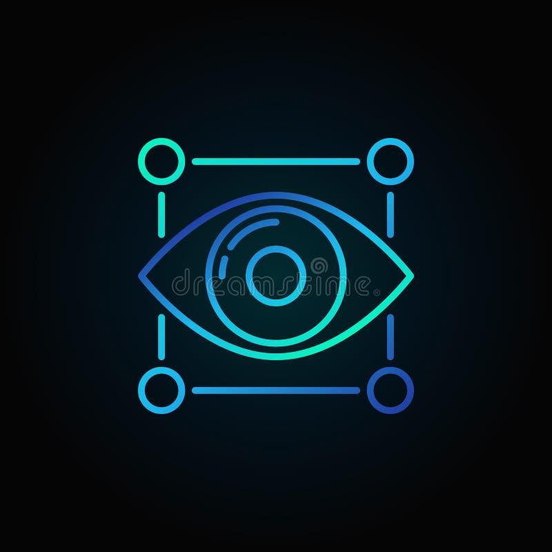 Ícone azul do vetor do olho ilustração do vetor