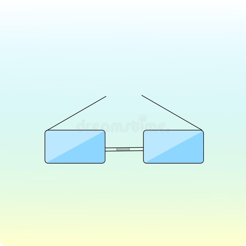 Ícone azul dos vidros do vetor Fundo do inclinação minimalism ilustração do vetor