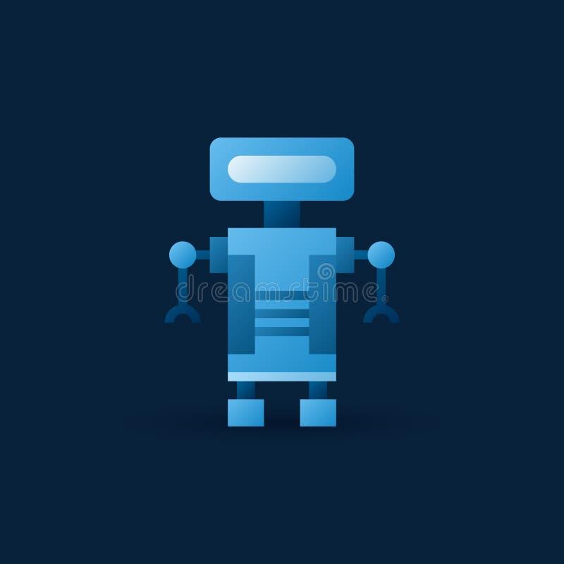 Ícone azul engraçado do robô Símbolo liso do robô do vetor ilustração stock
