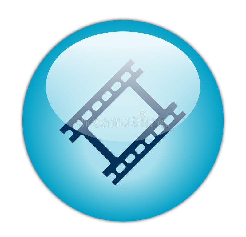 Ícone azul Glassy da tira da película ilustração royalty free