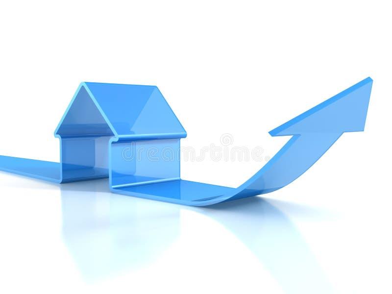 Ícone azul lustroso da casa com seta de aumentação. conceito dos bens imobiliários ilustração stock