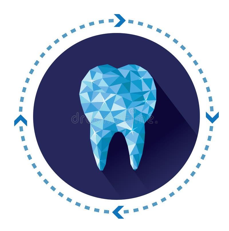 Ícone azul poligonal do dente do vetor com efeito de sombra longo ilustração do vetor
