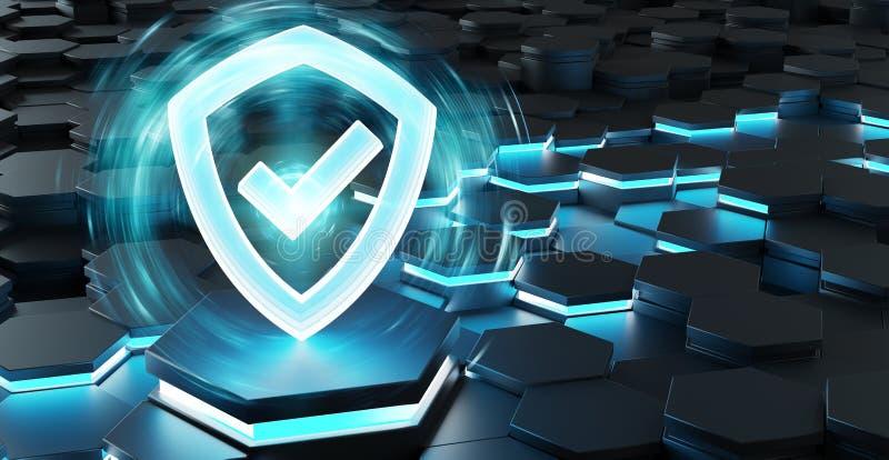 Ícone azul preto do protetor na rendição do fundo 3D dos hexágonos ilustração stock