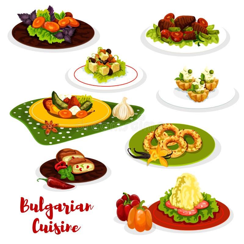 Ícone búlgaro do menu do almoço da culinária com prato da carne ilustração do vetor