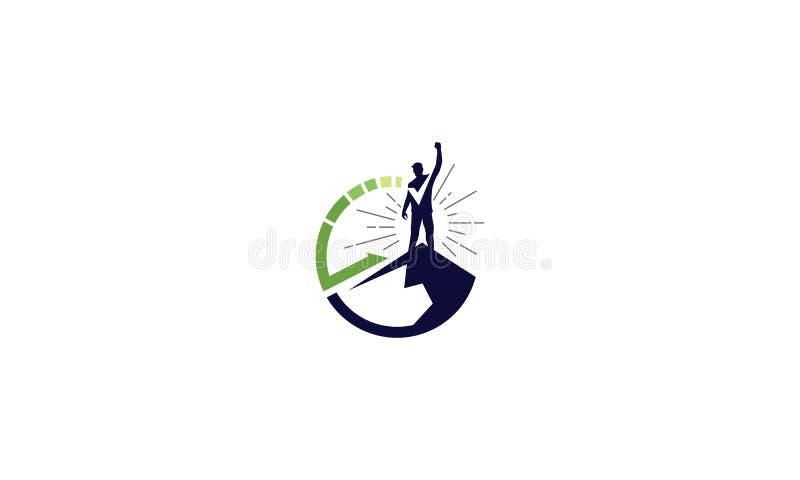 Ícone bem sucedido do vetor do logotipo do cume ilustração stock
