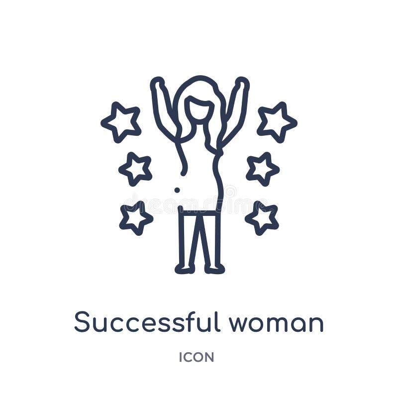 Ícone bem sucedido linear da mulher da coleção do esboço das senhoras Linha fina ícone bem sucedido da mulher isolado no fundo br ilustração do vetor