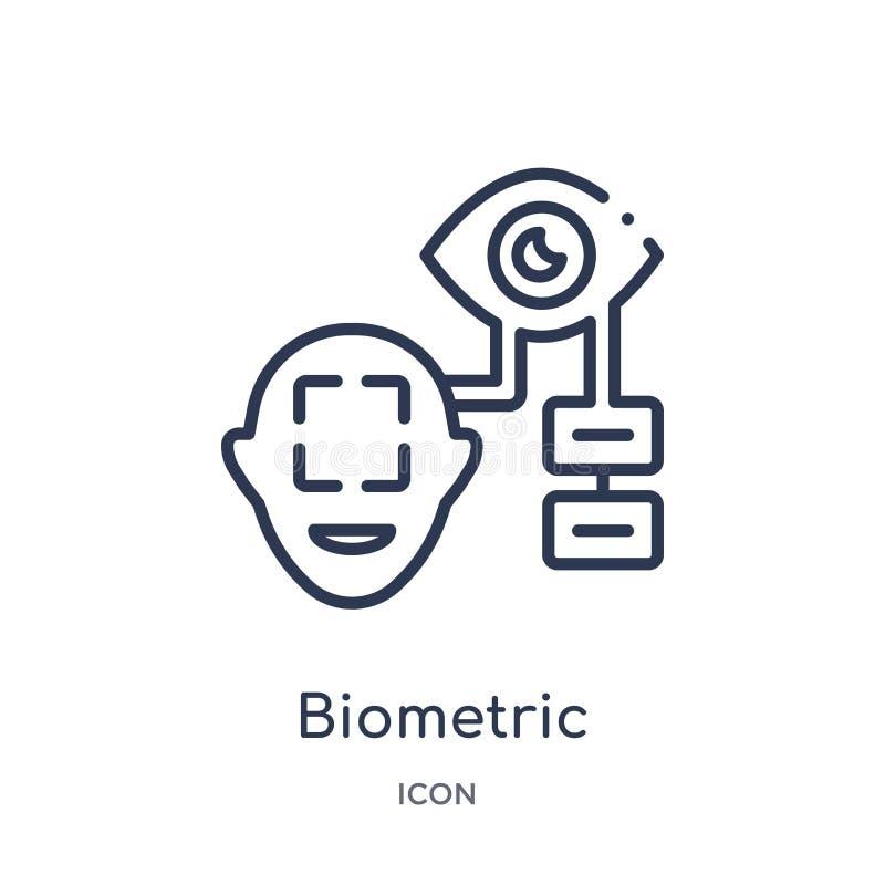 Ícone biométrico linear do reconhecimento da coleção do esboço do Cyber Linha fina vetor biométrico do reconhecimento isolado no  ilustração do vetor