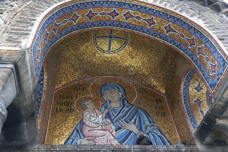 Ícone bizantino da Virgem Maria em Atenas, Grécia imagem de stock