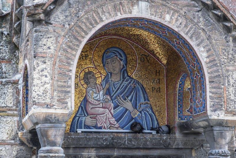 Ícone bizantino da Virgem Maria em Atenas, Grécia imagens de stock royalty free