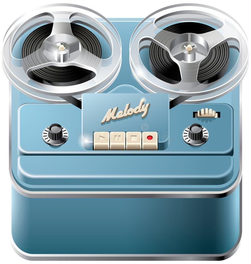 Ícone bobina a bobina do registrador de cassete áudio ilustração stock
