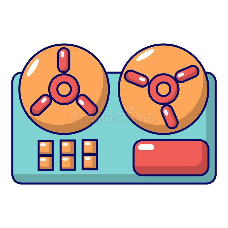 Ícone bobina a bobina do gravador, estilo dos desenhos animados ilustração do vetor