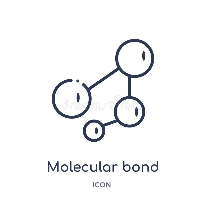 Ícone bond molecular linear da coleção do esboço da educação Linha fina vetor bond molecular isolado no fundo branco ilustração royalty free