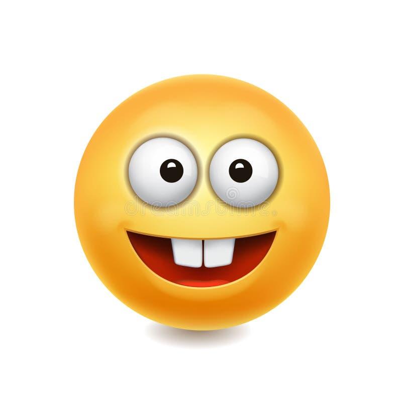 Ícone bonito da cara amarela do sorriso, ilustração do vetor ilustração royalty free