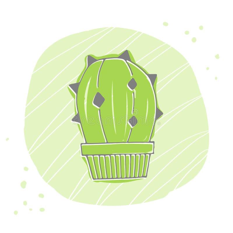 Ícone bonito da silhueta do cacto do verde dos desenhos animados Ilustra??o do vetor ilustração stock