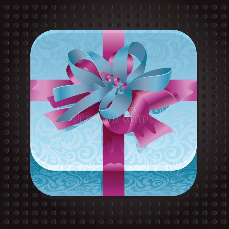 Ícone bonito do app com presente ilustração do vetor
