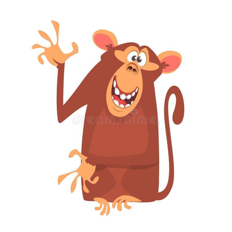 Ícone bonito do caráter do macaco dos desenhos animados Coleção do animal selvagem Mão e apresentação de ondulação da mascote do  ilustração royalty free