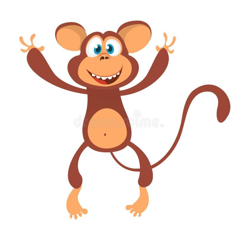 Ícone bonito do caráter do macaco dos desenhos animados Mão e apresentação de ondulação da mascote do chimpanzé Ilustração do vet