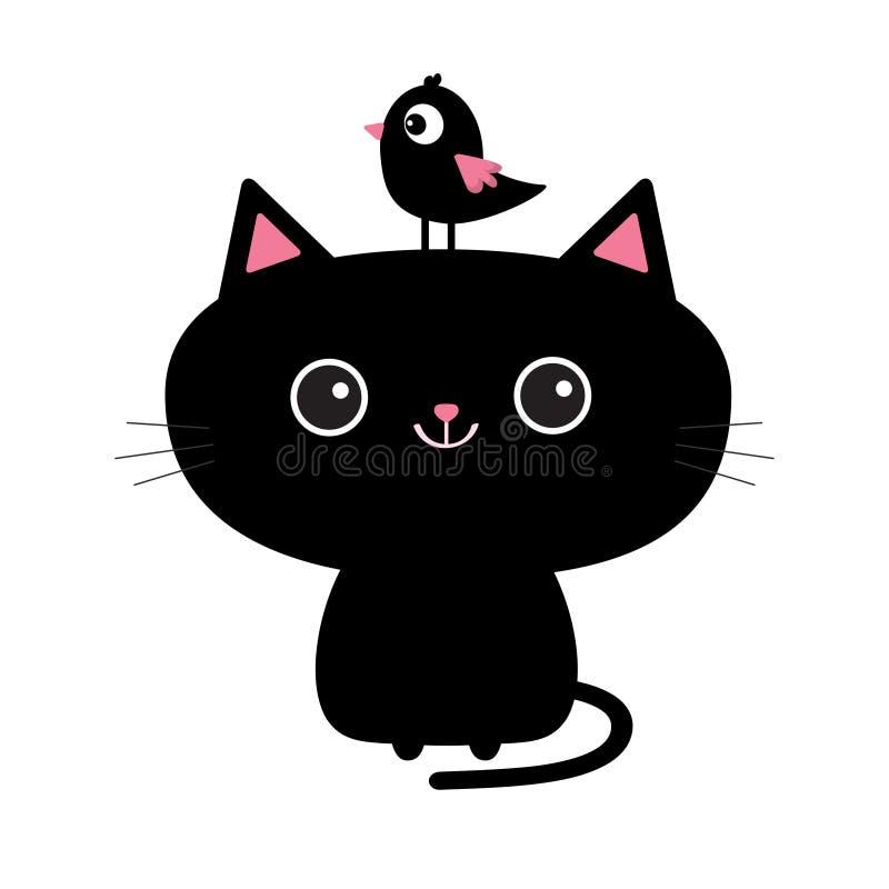 Ícone bonito do gato preto Pássaro que senta-se na cara principal Personagem de banda desenhada engraçado Animal de Kawaii Cauda, ilustração do vetor