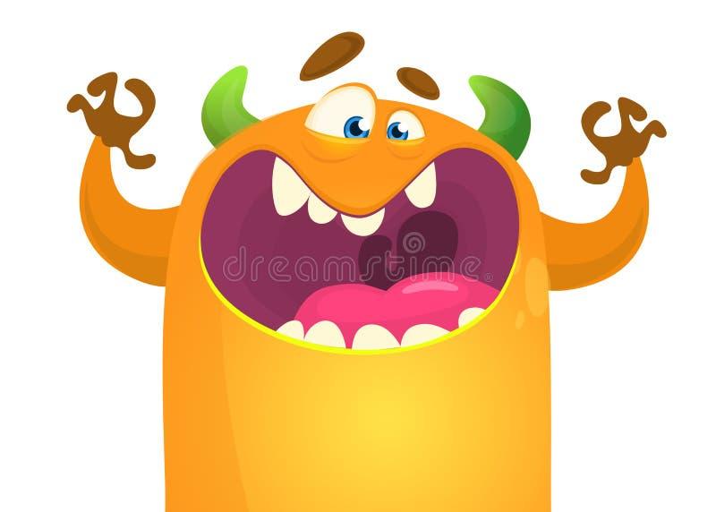 Ícone bonito do monstro dos desenhos animados do vetor Clipart horned alaranjado do monstro ilustração stock