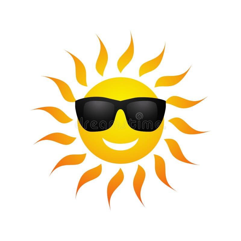 Ícone bonito do sol do verão dos desenhos animados do vetor ilustração royalty free