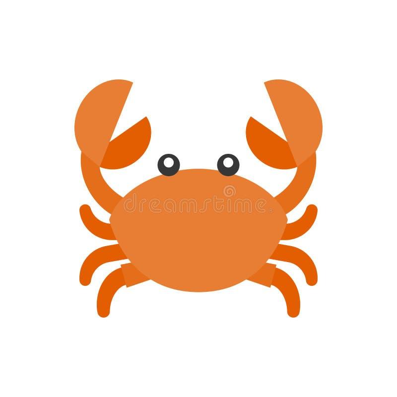 Ícone bonito dos desenhos animados do caranguejo ilustração royalty free