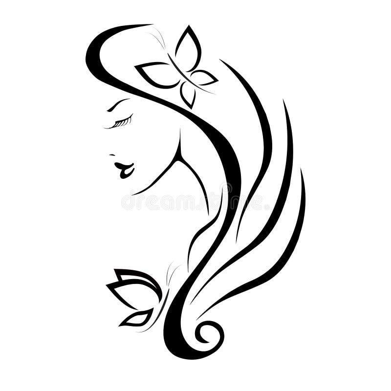 Ícone bonito Logo Vetora do penteado da mulher ilustração do vetor