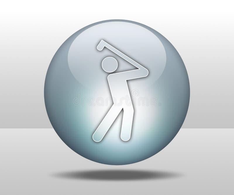 Ícone, botão, Golfing do pictograma ilustração stock