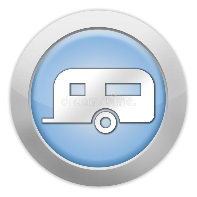 Ícone, botão, reboque de acampamento do pictograma ilustração royalty free