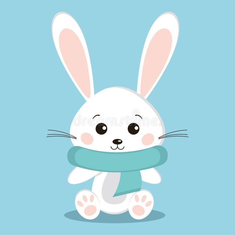 Ícone branco bonito e doce do inverno isolado de coelho do coelho na pose de assento com o lenço acolhedor morno azul ilustração stock