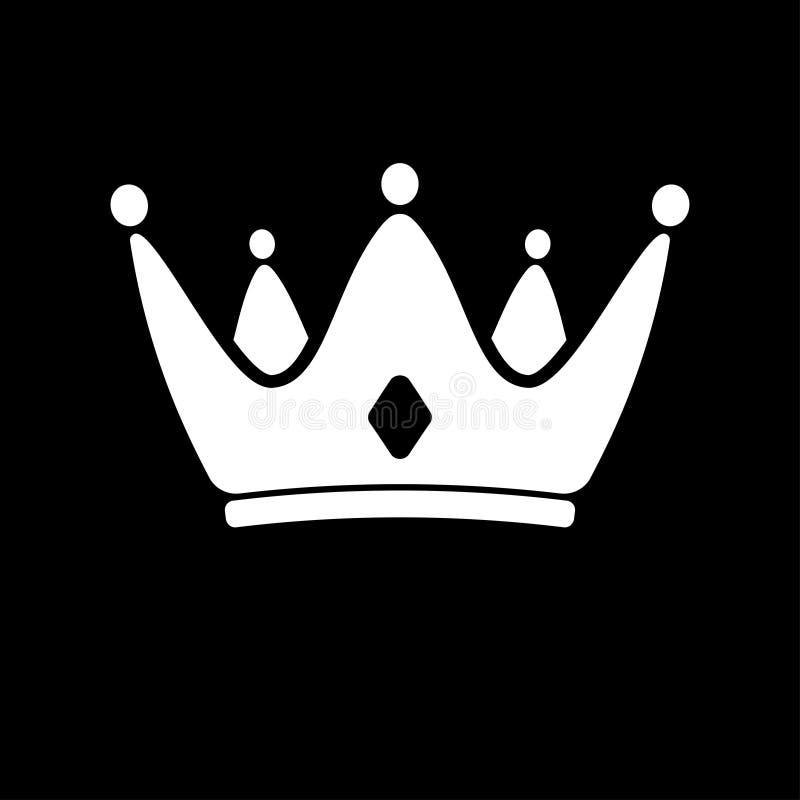Ícone branco da coroa Símbolo do vetor do rei, real ilustração stock