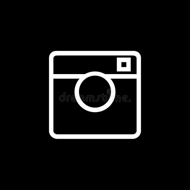 Ícone branco da máquina da foto em um fundo preto ilustração do vetor