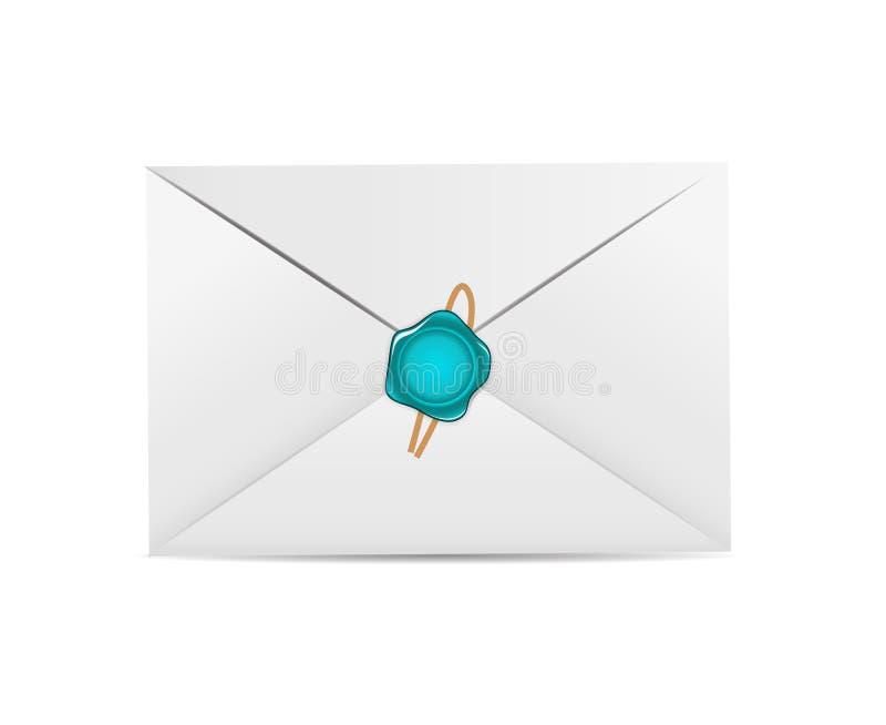Ícone branco do envelope com vetor do selo da cera ilustração royalty free