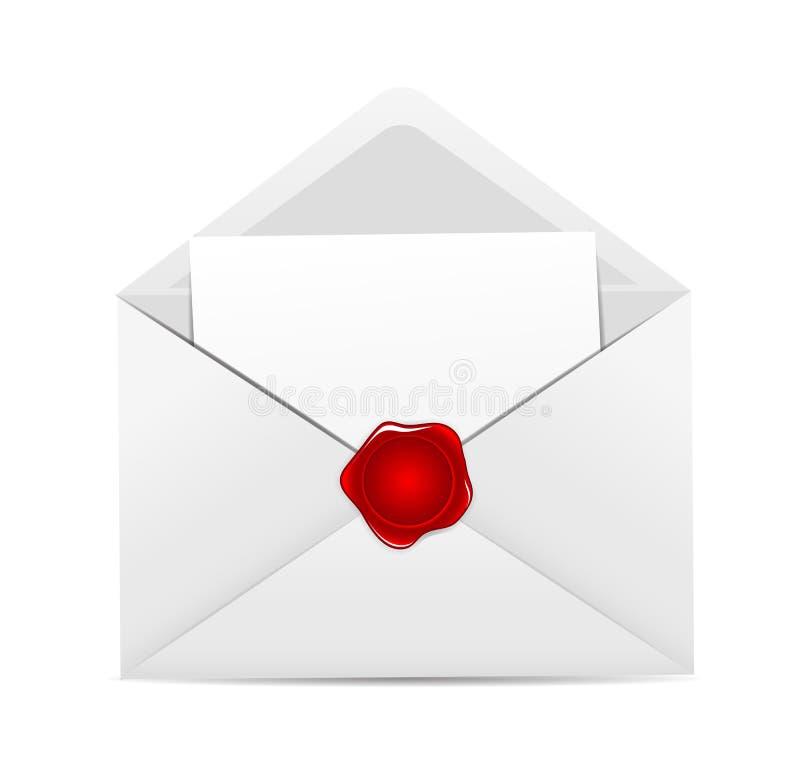 Ícone branco do envelope com vetor vermelho do selo da cera ilustração do vetor