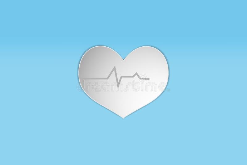 ícone branco do estilo do projeto do papel do coração ilustração do vetor do desfibrilador da medida do pulso da pulsação do cora ilustração do vetor