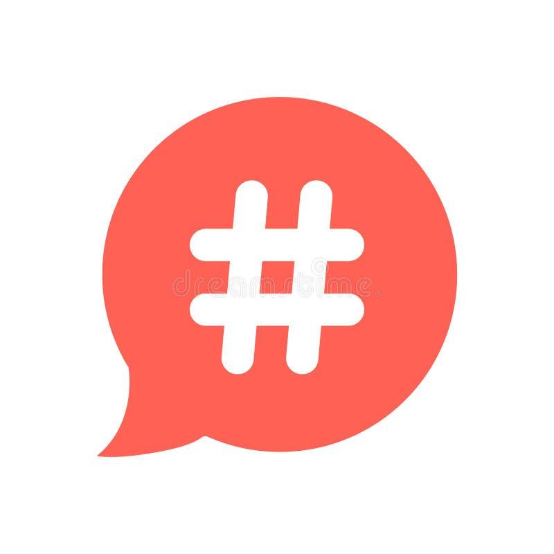 Ícone branco do hashtag na bolha vermelha do discurso ilustração royalty free