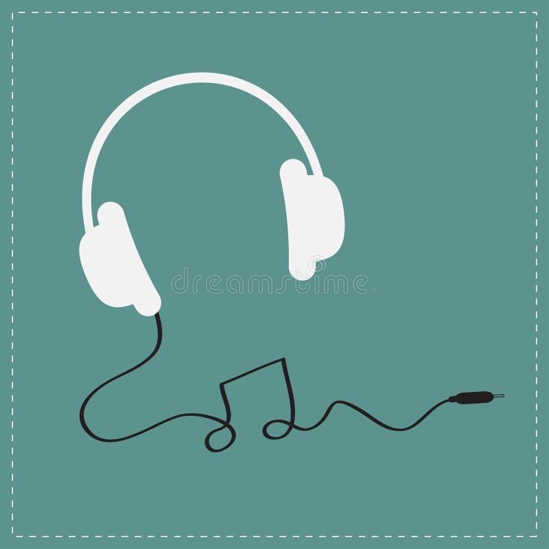 Ícone branco dos fones de ouvido com cabo preto na forma do cartão do fundo da música da nota Projeto liso ilustração stock
