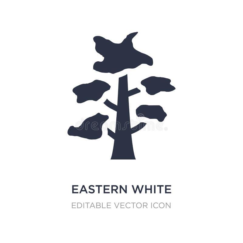 ícone branco oriental do pinheiro no fundo branco Ilustração simples do elemento do conceito da natureza ilustração stock