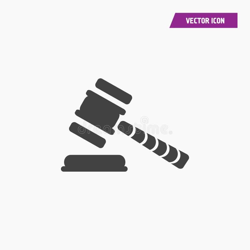 Ícone branco preto do hummer do juiz ou do leilão ilustração do vetor