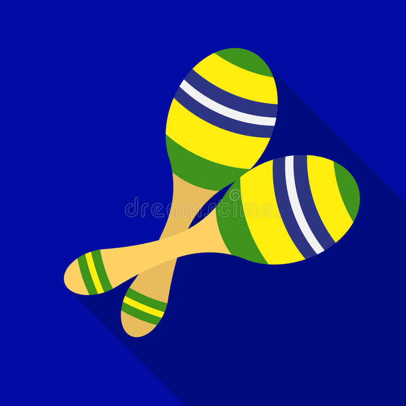 Ícone brasileiro dos maracas no estilo liso no fundo branco Ilustração do vetor do estoque do símbolo do país de Brasil ilustração do vetor