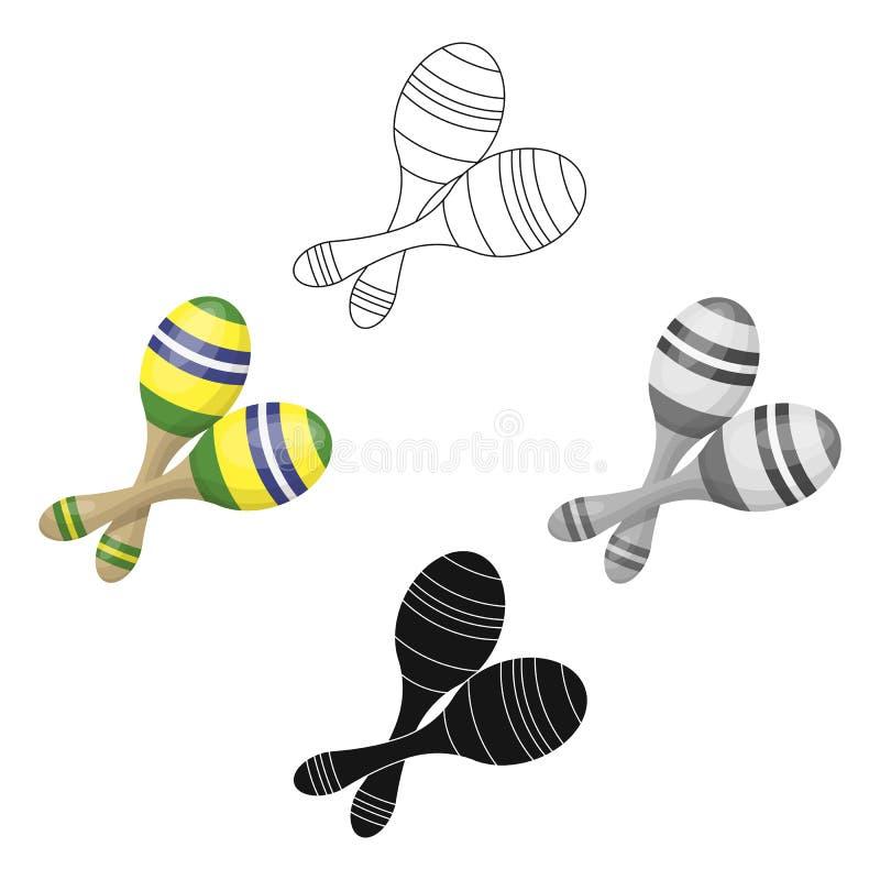 Ícone brasileiro dos maracas nos desenhos animados, estilo preto isolados no fundo branco Vetor do estoque do s?mbolo do pa?s de  ilustração royalty free