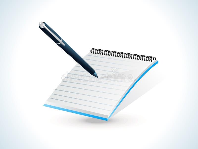 Ícone brilhante azul do bloco de notas ilustração do vetor