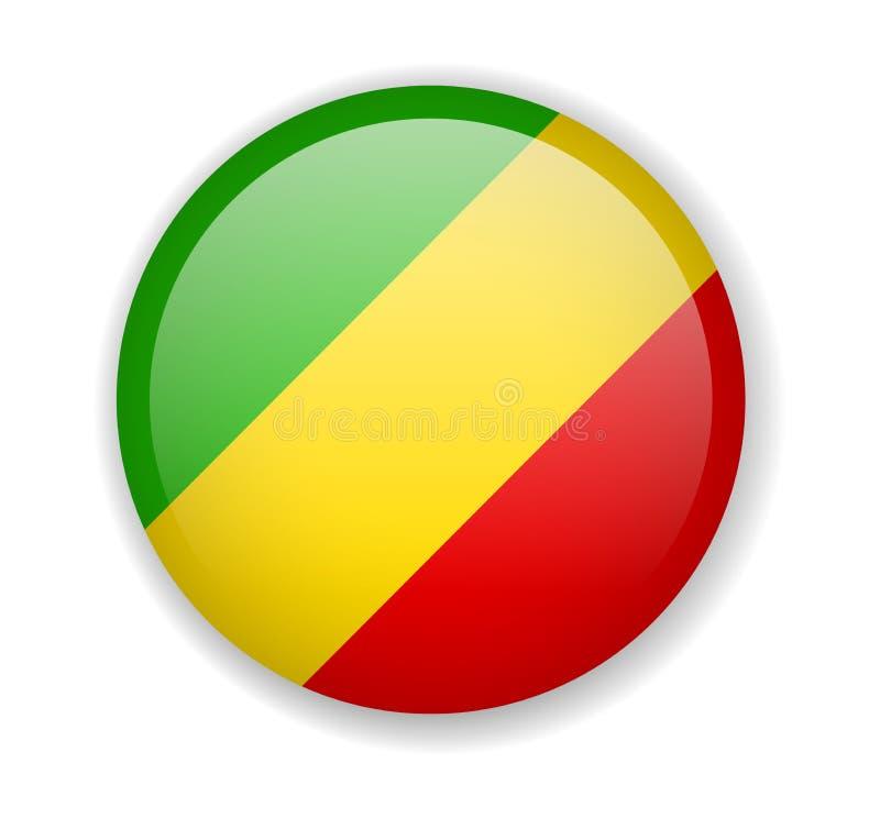 Ícone brilhante redondo da bandeira de Congo em um fundo branco ilustração stock