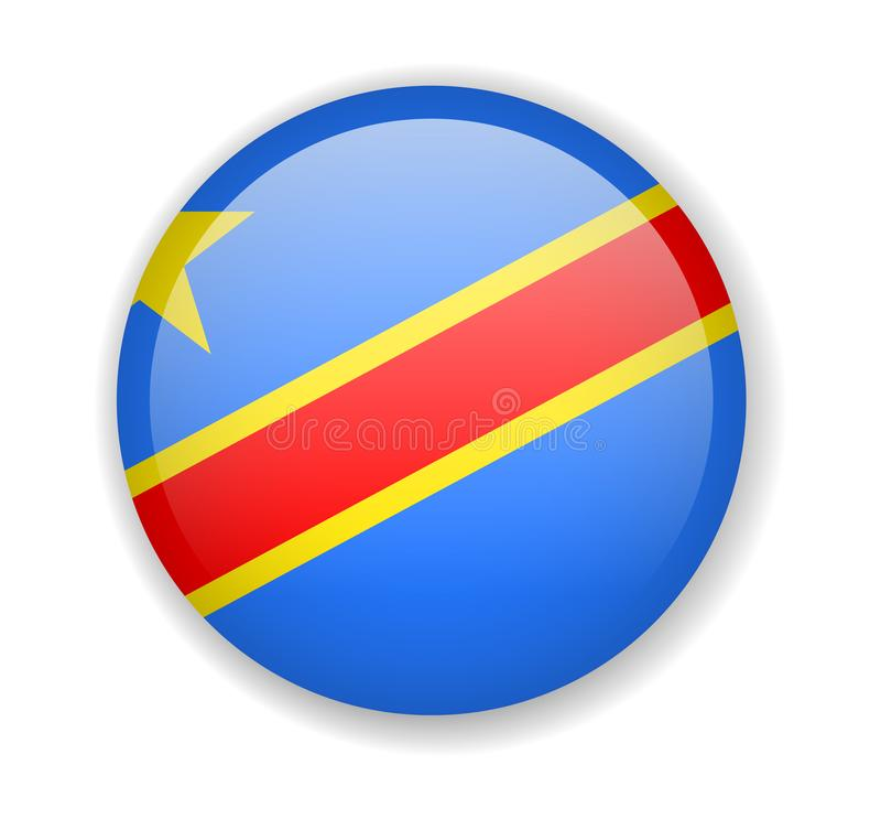 Ícone brilhante redondo da bandeira Democrática da República Democrática do Congo em um fundo branco ilustração do vetor