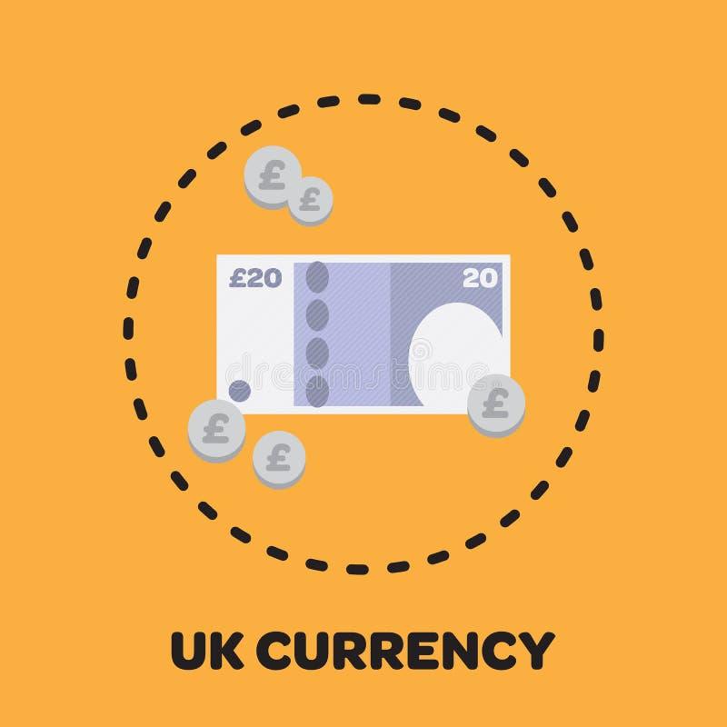 Ícone BRITÂNICO ilustrado do dinheiro ilustração stock