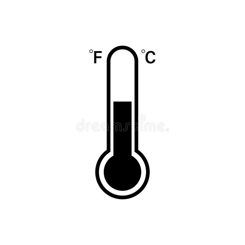 Ícone Célsio e de Fahrenheit do termômetro Engrena o ícone ilustração royalty free