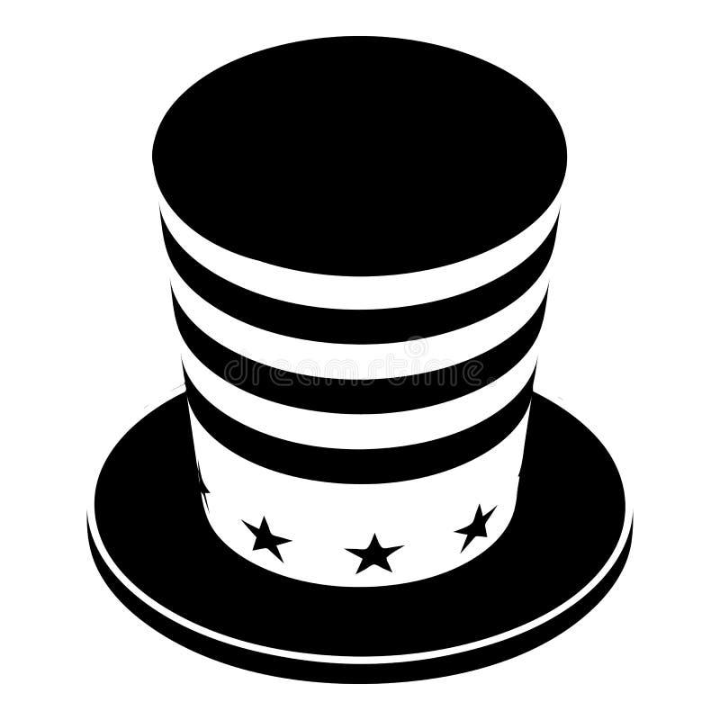 Ícone cônico americano do chapéu, estilo simples ilustração do vetor