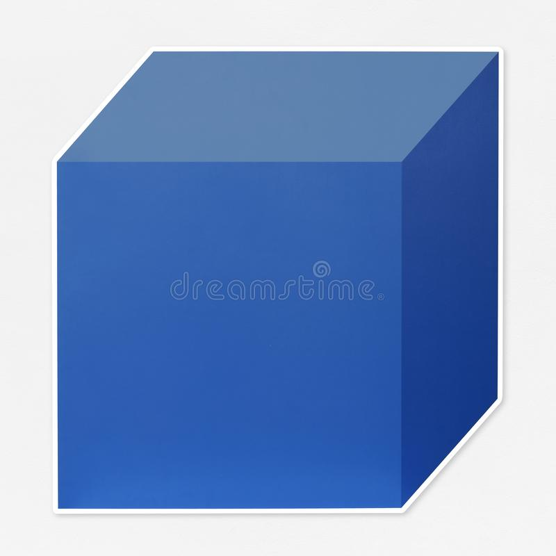 Ícone cúbico azul do molde da caixa imagens de stock