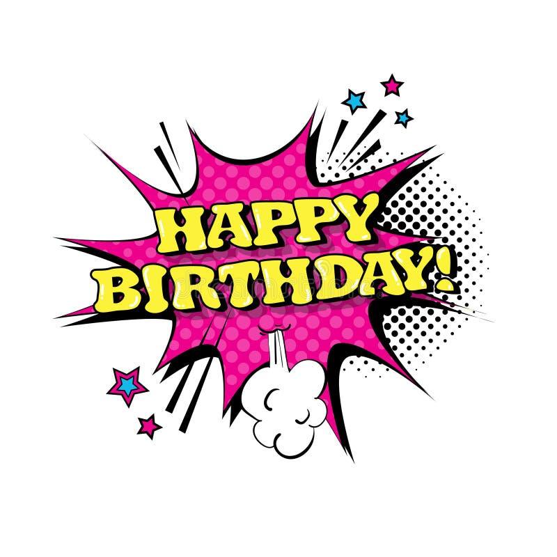 Ícone cômico do texto de Art Style Happy Birthday Expression do PNF da bolha do bate-papo do discurso