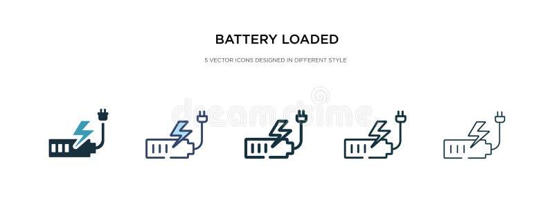 Ícone carregado da bateria em diferentes ilustrações de vetor de estilo dois ícones coloridos e pretos do vetor carregados com ba ilustração royalty free